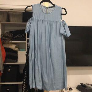 Zara chambray dress with shirts